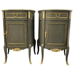 Pair of Demilune Painted Marble Top Louis XV Style Nightstands or End Tables