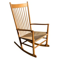 Hans Wegner for FDB Mobler J16 Rocking Chair in Beech Wood and Danish Cord