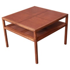 Michael Taylor for Baker Cherry and Cane Two-Tier Coffee Table, Newly Refinished