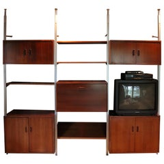 Mid-Century Modern George Nelson Omni 3 Bay Wall Unit Shelving Bookcase, 1960s