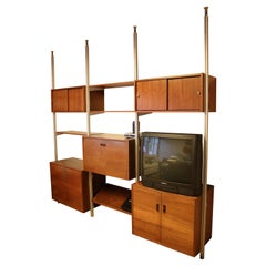 Mid-Century Modern George Nelson Omni 3 Bay Wall Unit Shelving Bookcase 1960s