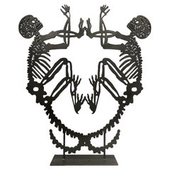 Large Abstract Metal Latin-American School Sculpture with Skeletons