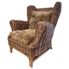 Vintage Woven Wicker Wingback Armchair