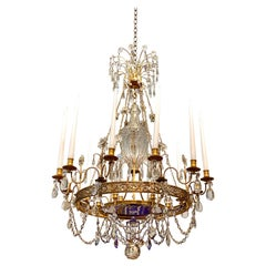 Early 20th Century Russian Style Ormolu and Cobalt Blue Chandelier