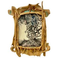 Eccentric Art Nouveau Rustic Frame with a Signed Paul Gorka Print