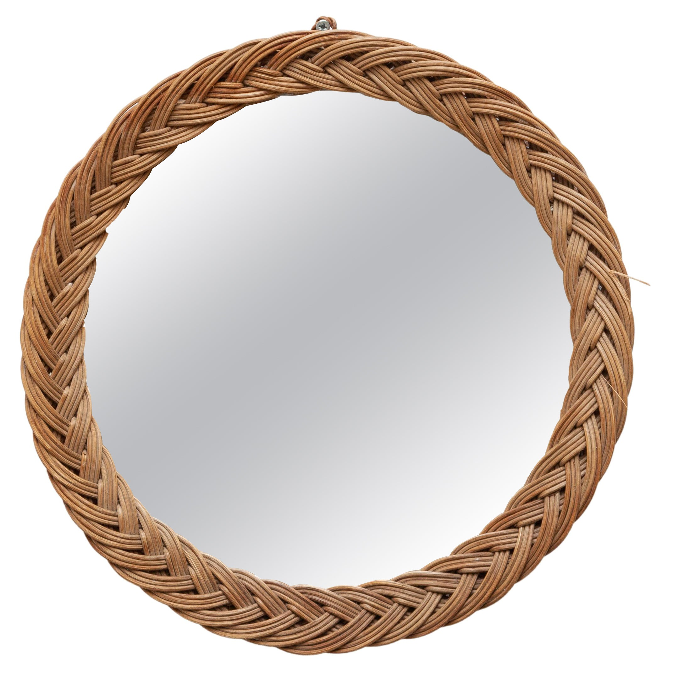 Round Wall Mirror in Wicker Frame, France, 1950s