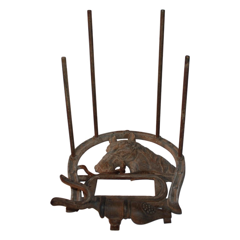 Folky Early 20thc Iron Boot Jack & Rack For Sale