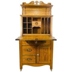 Antique 19th Century Early American Oak Secretary Desk