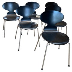 Set of 6 Dining Chairs Chrome and Wood, Italy 1980