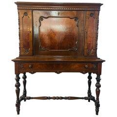 Jacobean Style Flame Mahogany Secretary Desk by Bloomingdales