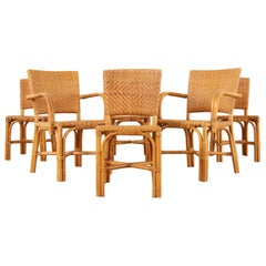 Set of Six French Art Deco Rattan Wicker Dining Chairs
