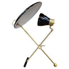Italian Midcentury Brass and Metal Double Shade Table Lamp, 1950s