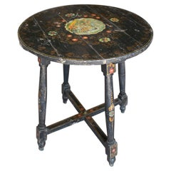1950s Spanish Andalusian Painted Black Round Table