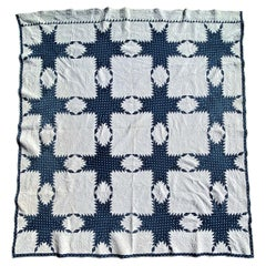19thc Fine Blue & White Feathered Star Quilt