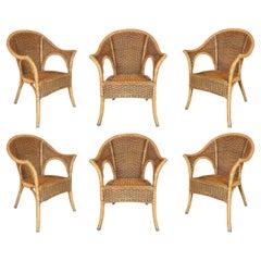 Set of Six 1980s Spanish Woven Wicker & Bamboo Chairs