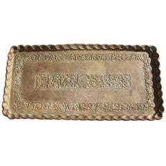 19thc Original Patinaed Brass Wall Tray