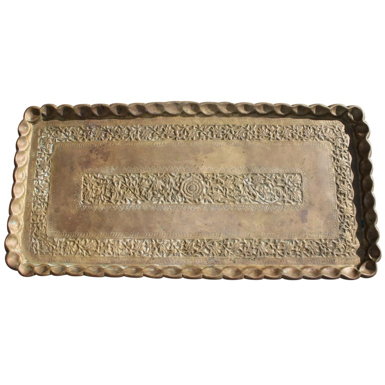 19thc Original Patinaed Brass Wall Tray For Sale