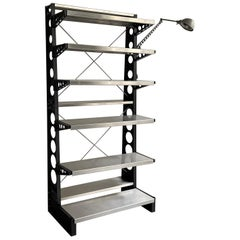 Open Industrial Steel Shelving Unit with Task Lamp
