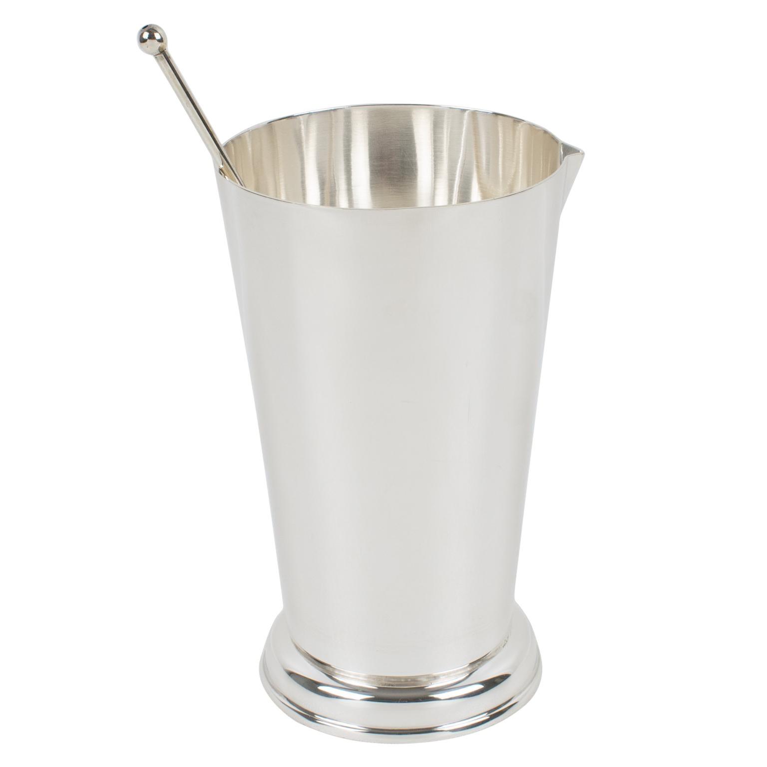 Art Deco Silver Plate Barware Cocktail Martini Pitcher by Produx Paris