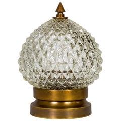 Spherical Hollywood Regency Diamond Crystal Pressed Glass Lamp