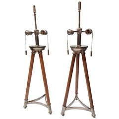 1970s Solid Maple and Nickel Tripod Table Lamps, a Pair