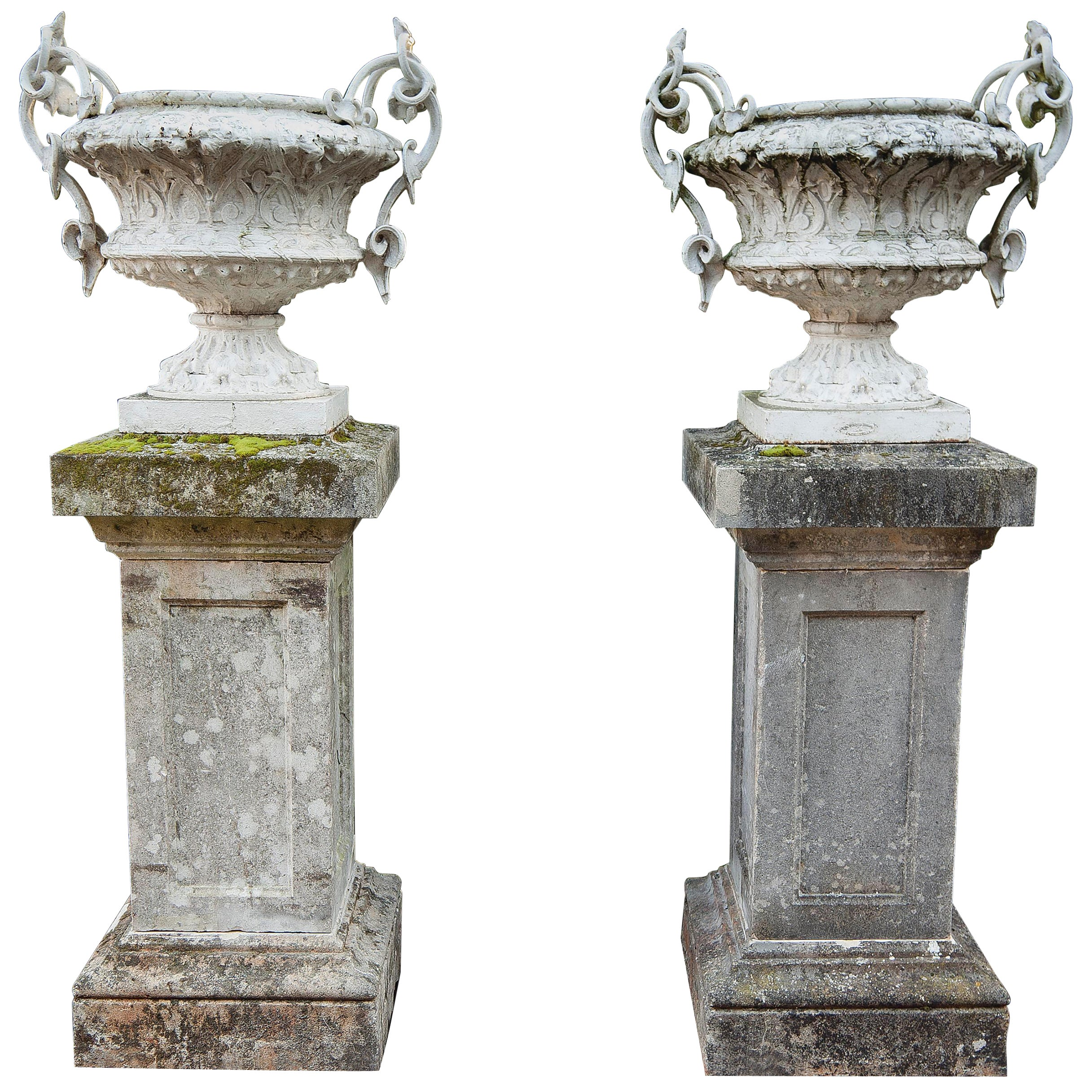 Large Pair of French White Painted Cast Iron Twin Handled Urns or Garden Vases