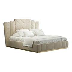 21st Century Carpanese Home Italia Upholstered Bed Modern, 7379