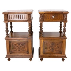 Pair of Nightstands Red Marble Walnut Bedside Tables Side Cabinets, French, 1910