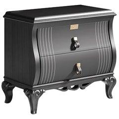 21st Century Carpanese Home Italia Nightstand with Metal Parts Neoclassic, 5772