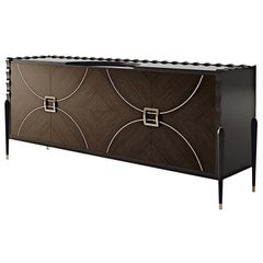 21st Century Carpanese Home Italia Sideboard with Metal Details Modern, 7002