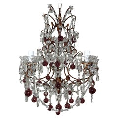 French Amethyst Murano Balls Gilt Wood Crystal Prisms Chandelier, c1900