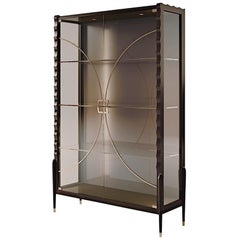 21st Century Carpanese Home Italia Glass Cabinet with Wood Frame Modern, 7008