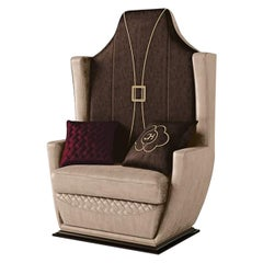 21st Century Carpanese Home Italia Armchair with Wooden Base Modern, 7012