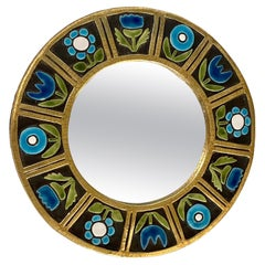 Round Ceramic Mirror Decorated with Blue Flowers by Mithé Espelt, France