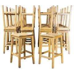 1950's English Oak School Laboratory High Stools, Large Quantities Available