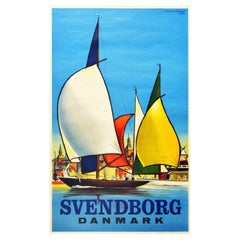 Original Vintage Travel Poster Svendborg Danmark Sailing Pleasure Boat Denmark
