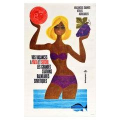 Original Vintage Soviet Intourist Poster Yalta Sochi USSR Travel Seaside Resorts