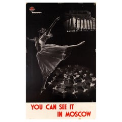 Original Vintage Russian Ballet Poster Bolshoi Theatre In Moscow USSR Intourist