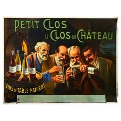 Original Antique Drink Poster Petit Clos Du Chateau Bourgogne Wine Cellar France