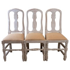 Set of 4 1940s Swedish Country Style High Backed White-Washed Folk Chairs