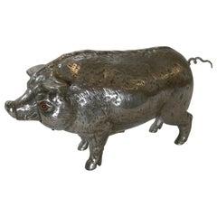 Rare Polished Pig / Hog Mechanical Bell c.1890