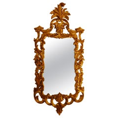 English Georgian Style Late 19th Century Gold Leaf Hand Carved Mirror