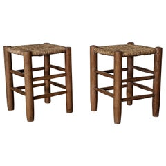 Charlotte Perriand Solid Wood Stools N 17, Georges Blanchon, France, 1950