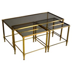 Mid-century Modern Neoclassical Brass Nesting Tables Attributed to Maison Jansen