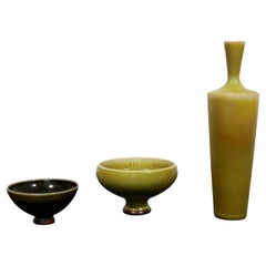 Mid Century Modern 3 Pc Ceramic Set Signed Berndt Friberg Yellow Hare Glaze 60s