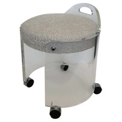 Lucite and Boucle Vanity Stool by Hill Manufacturing