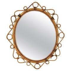 Spanish Rattan Bamboo Oval Mirror, 1960s
