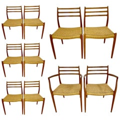 Set of 10 Mid-Century Modern Dining Chairs, Danish, Niels Moller, 1950s