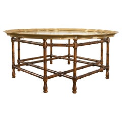 Baker Faux Bamboo Brass Tray Top Cocktail Table