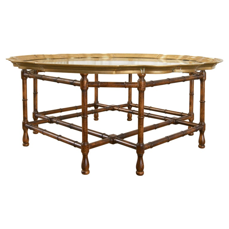 Baker Faux Bamboo Brass Tray Top Cocktail Table For Sale